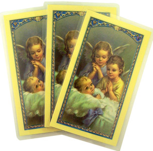 Laminated Cherub Angels with Infant Holy Card with Prayer on Back, Pack of 3