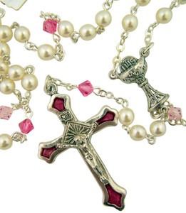 First Communion White and Pink Bead Rosary with Pink Enameled Crucifix, 12 Inch