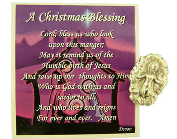A Christmas Blessing Holy Prayer Card with Infant Jesus Christ Medal, 1 Inch