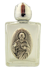 Glass Holy Water Bottle with Silver Tone Saint Jude Medal and Rosebud Lid