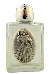 Glass Holy Water Bottle with Silver Tone Divine Mercy Medal and Rosebud Lid
