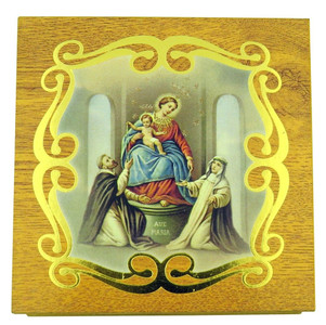 Gold Embossed Our Lady Ave Maria Icon on Felt Lined Natural Wood Rosary Box