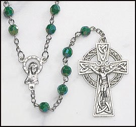 Green Irish Rosary with Celtic Cross
