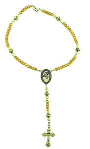 Saint Benedict One Decade Auto Rosary with Black Acrylic Prayer Beads, 9 Inch