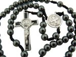 "Hematite 6mm Beads 12"" Corded Hand Bible Rosary Saint St Benedict Medal Center"