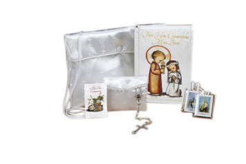 Girls First Communion Set with Mass Book Scapular Lapel Pin Rosary and Wallet