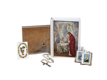 First Communion Mass Book Scapular Rosary Lapel Pin and Wallet Set for Girls