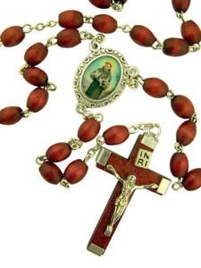 Brown Wood Prayer Bead Saint Francis of Assisi Rosary, 14 Inch
