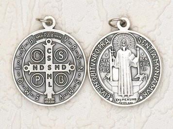 Mens Womens 1 1/4-inch Patron Saint St Benedict Religious Christian Icon Oxidized Silver Tone Medal