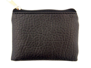 Black Leather Textured Lined Rosary Pouch with Zipper Close, 3 1/2 Inch