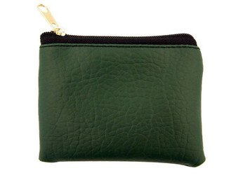Emerald Green Leather Textured Lined Rosary Pouch with Zipper Close, 3 1/2 Inch