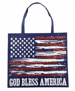 Red White and Blue Nylon God Bless America Tote Bag, 13 Inch