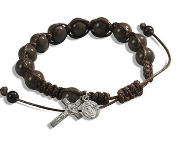 "Saint Benedict Medal Crucifix Charm 7 1/2"" Adjustable Brown Cord Rosary Bracelet"