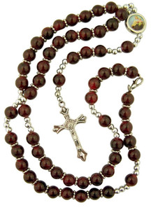 Maroon Prayer Bead Rosary Necklace with Colored Scapular Centerpiece, 17 Inch