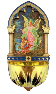 Guardian Angel Gold Embossed Laser Cut Wood Multi-Dimensional Holy Water Font