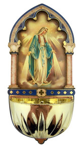 Our Lady of Grace Gold Embossed Laser Cut Wood Multi-Dimensional Holy Water Font