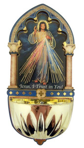 Divine Mercy Gold Embossed Laser Cut Wood Multi-Dimensional Holy Water Font