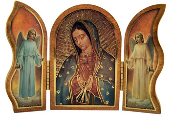 Gold Embossed Our Lady of Guadalupe Icon Folding Wooden Triptych, 3 1/2 Inch