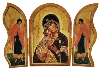 Gold Embossed Our Lady of Vladimir Icon Folding Wooden Triptych, 3 1/2 Inch