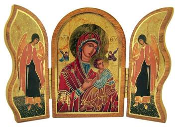 Gold Embossed Our Lady of Passion Icon Folding Wooden Triptych, 3 1/2 Inch