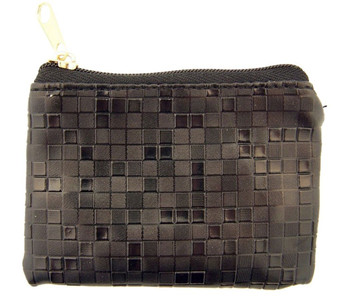 Black Mosaic Pattern Leather Zipper Rosary Pouch, 3 1/2 Inch