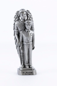 Pewter Catholic Patron of Police Saint St Michael Statue with Laminated Prayer Card, 3 1/2 Inch