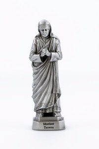 Pewter Catholic Saint St Mother Teresa Statue with Laminated Prayer Card, 3 1/2 Inch