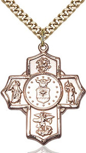 14KT Gold Filled Five-Way Air Force Military Medal, 1 1/4 Inch