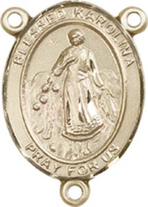 14KT Gold Filled Blessed Karolina Kozkowna Rosary Centerpiece Medal, 3/4 Inch
