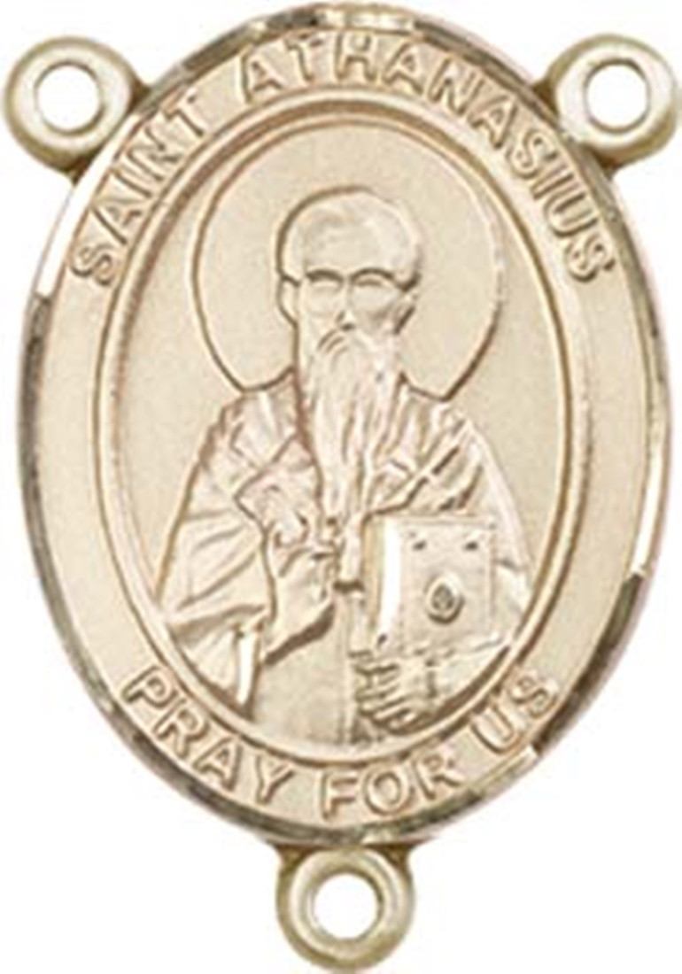 Kt gold filled saint athanasius rosary centerpiece medal