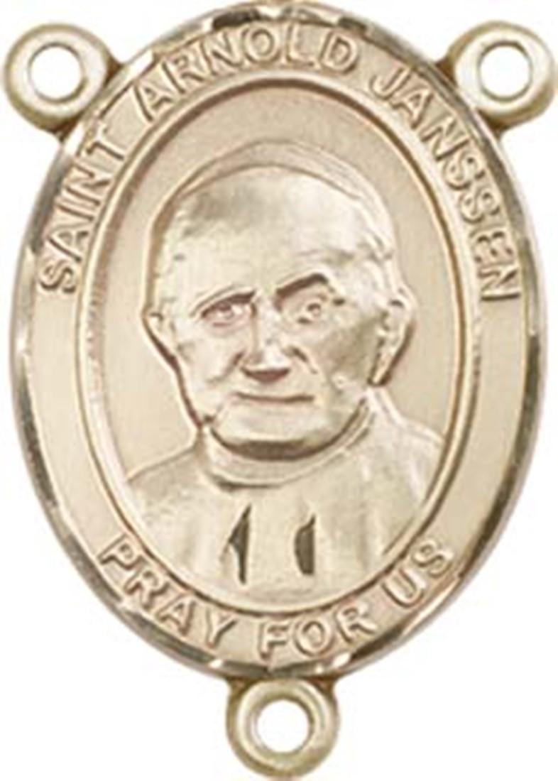 Kt gold filled saint arnold janssen rosary centerpiece