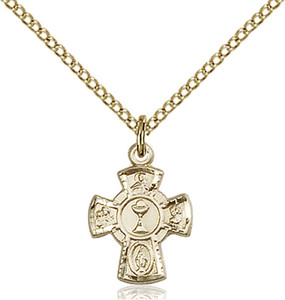 14KT Gold Filled First Communion 5-Way Medal with Chalice Center, 1/2 Inch