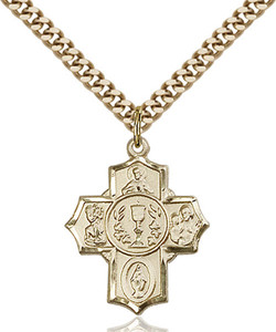 14KT Gold Filled First Communion Five-Way Medal Millennium Crucifix, 7/8 Inch