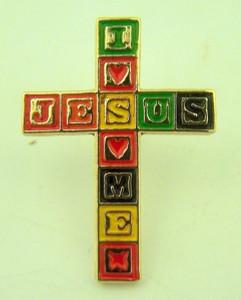 Gold Tone and Enamel Jesus Loves Me Blocks Cross Lapel Pin, 1 Inch