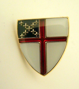 Gold Tone and Enamel Episcopal Church Arms Cross Lapel Pin, 1/2 Inch