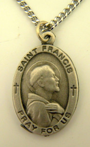 Pewter Catholic Patron Saint Francis Pray for Us Medal, 1 Inch
