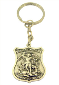 Pewter Patron of Police Saint Michel Badge Shape Medal Key Chain, 1 1/4 Inch