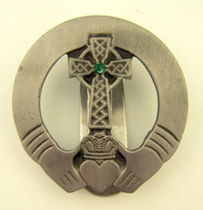 Pewter Irish Claddagh with Celtic Cross Auto Visor Clip, 2 Inch