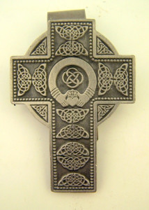 Pewter Irish Celtic Cross with Claddagh Center Auto Visor Clip, 2 Inch