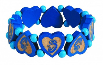 Laser Engraved Wood Madonna and Child Heart Shape Bead Stretch Bracelet, 7 Inch
