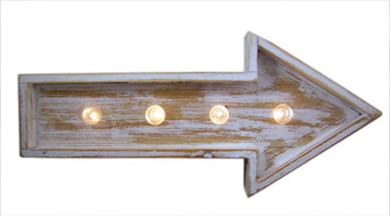 Spring Lights White Washed Wood Arrow Sign with LED Lights, 15 3/4 Inch