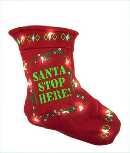 Hearts Come Home Santa Stop Here LED Christmas Stocking Door Ornament, 8 Inch