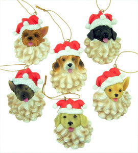 Animal Keepsakes Assorted Santa Puppy Christmas Ornament, 3 Inch, Pack of 6