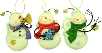 Inspirational Gifts Resin Snowman Christmas Ornament, 5 Inch, Set of 3