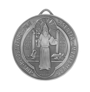 Silver Tone Saint Benedict Evil Protection Medal Pendant, 2 3/4 Inch