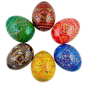 6 Ukrainian Geometric Wooden Easter Eggs