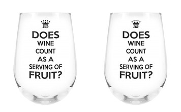 Does Wine Count as a Serving of Fruit? Stemless Wine Glass, 17 oz, Set of 2