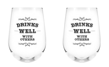 Drinks Well with Others Stemless Wine Glass, 17 oz, Set of 2