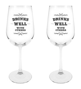 Drinks Well with Others Wine Glass, 18 1/2 oz, Set of 2