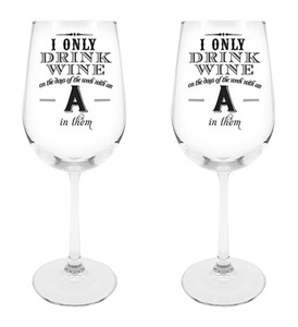 Days of the Week Wine Glass, 18 1/2 oz, Set of 2